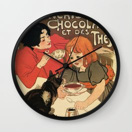 Vintage French tea and hot cocoa advertising Wall Clock