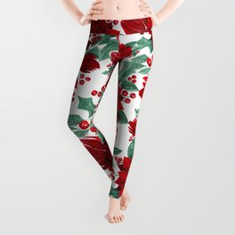 Merry Red Poinsettia Flowers Ivy Leaves Watercolor Leggings