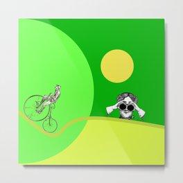 BICYCLE TRAVEL - Simple Surreal Illustration  Metal Print