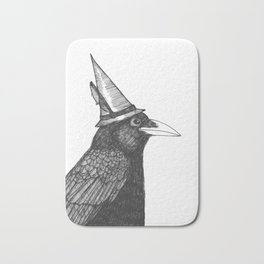 Willem Dacrowe Crow Wearing a Witch's Hat Bath Mat
