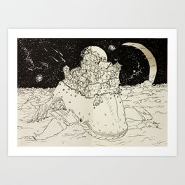 flying whale Art Print