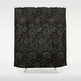 """William Morris Floral Pattern   """"Pink and Rose"""" in Black and Grey   Vintage Flower Pattern Shower Curtain"""