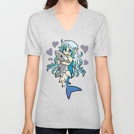 Cute Mermaid Loves Her Shark Plush Unisex V-Neck