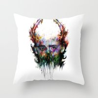 loki Throw Pillows featuring loki by ururuty