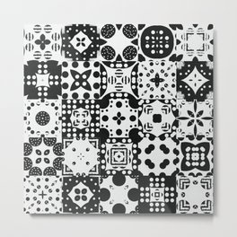 Black & White Abstract Tile Pattern Metal Print