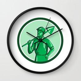 Green Miner Holding Shovel Circle Retro Wall Clock