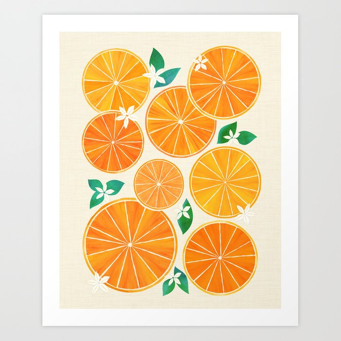 Orange Slices With Blossoms Kunstdrucke