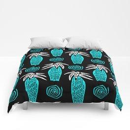 Palm Tree on Black Comforters