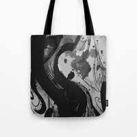reassurance Tote Bags featuring Ink by Magdalena Hristova