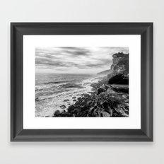 Rocky Cliffs B+W Framed Art Print
