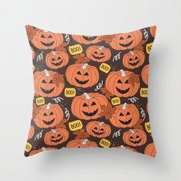 Halloween Pumpkin Boo - Jack o Lantern Pattern Throw Pillow
