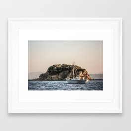 Skiathos Island fishing boat Framed Art Print