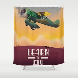 Learn To Fly, vintage flight travel poster Shower Curtain