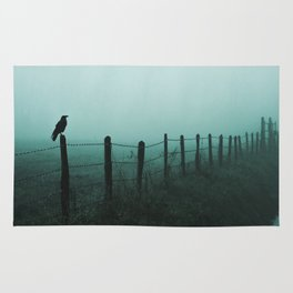 Crow on fence foggy rainy day silhouette horror rpg dark style green and black tones Rug