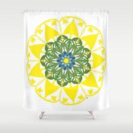 Yellow Green and Blue Mandala Flower Shower Curtain