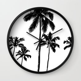 Monochrome tropical palms Wall Clock
