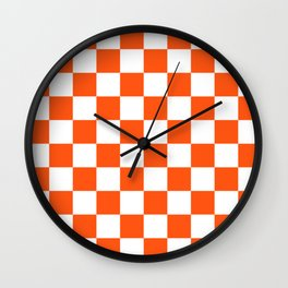 Cheerful Orange Checkerboard Wall Clock