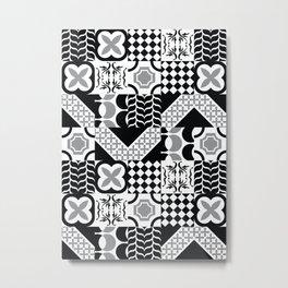 Black & White Mixed Square Tiles Patterns Metal Print