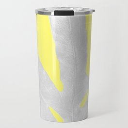 Green Fern on Lemon Yellow Inverted Travel Mug