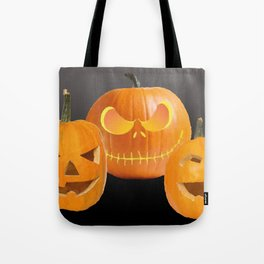 Orange Halloween Pumpkin faces Tote Bag