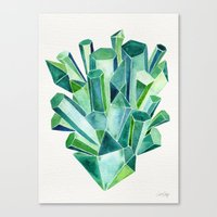 emerald Canvas Prints featuring Emerald Watercolor by Cat Coquillette