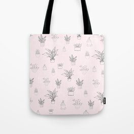 Cute Pink House Plant Pattern Tote Bag