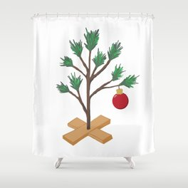 Alone at Christmas - Christmas Tree Shower Curtain