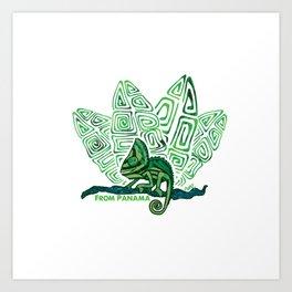 camaleon verde duotono Art Print