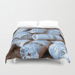 BLUE CHAMPAGNE CORK Duvet Cover