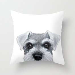 Schnauzer Grey&white, Dog illustration original painting print Throw Pillow