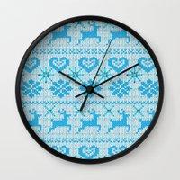 scandinavian Wall Clocks featuring Scandinavian Knitting by Vannina