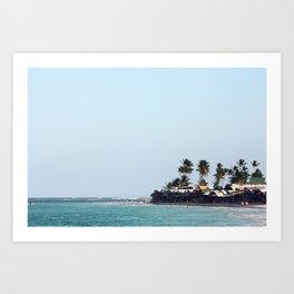 Beach, palm trees in Dominican Republic Art Print