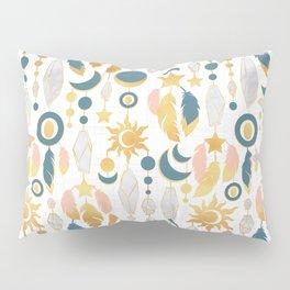 Bohemian spirit IV // white background salmon pink & gold feathers Pillow Sham
