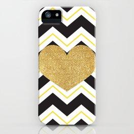 Golden Glittery Heart iPhone Case