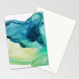 Mint Green Teal Blue Abstract, Hunting II Stationery Cards