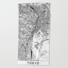 Tokyo White Map Beach Towel