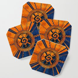 Hunab Ku Mayan symbol Orange and Blue Coaster