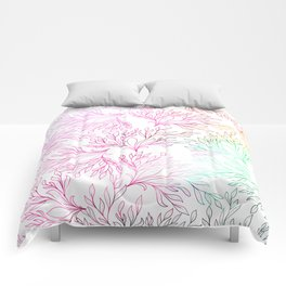 Hand painted magenta pink teal green watercolor floral Comforters