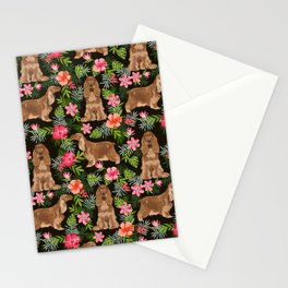 Cocker Spaniel hawaiian tropical print with dog breeds cocker spaniels Stationery Cards