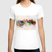 cincinnati T-shirts featuring Cincinnati skyline in watercolor background by Paulrommer