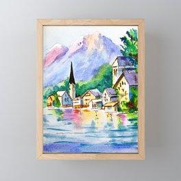 Hallstatt, Austria - Little village landscape Framed Mini Art Print