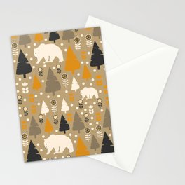 Bears in a winter forest Stationery Cards
