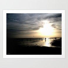 Walking Along the Sunset at the Beach Art Print