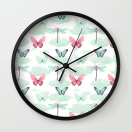 Pink teal watercolor clouds dragonfly butterfly pattern Wall Clock