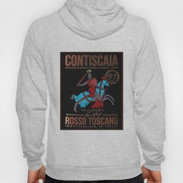 Vintage Toscana Rosso Wine Bottle Label Print Hoody