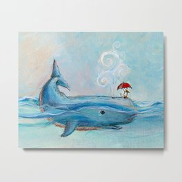Whimsical Whale and Pelican Metal Print