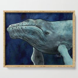 Humpback Whale Illustration Serving Tray