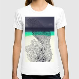 Modern Abstract Sea Coral Reef on Beach Background T-shirt
