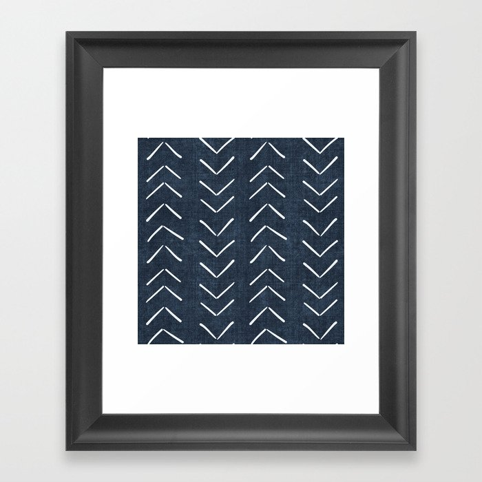 Mud Cloth Big Arrows in Navy Gerahmter Kunstdruck