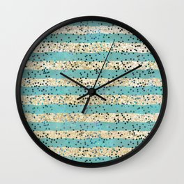 Teal and Gold Glitter with Polka Dots Wall Clock